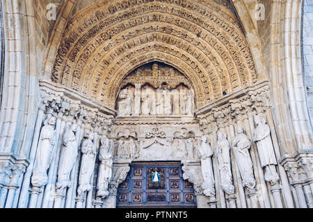 Portuguese Camino, Tui, Portal of the Cathedral of the Blessed Virgin Mary in Tui, starting point for many pilgrims, The St. James Way - Stock Photo