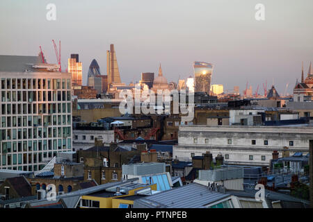 The skyline of London looking from Drury Lane towards St Paul's - Stock Photo