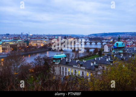 Prague, Czech Republic : High angle view of the bridges over the River Vltava, as seen from Letná hill. - Stock Photo