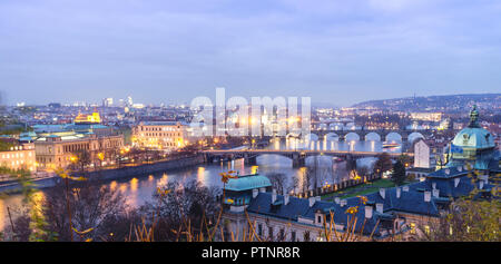 Bridges over the Vltava river, as seen from Letná at dusk. Prague, Czech Republic - Stock Photo
