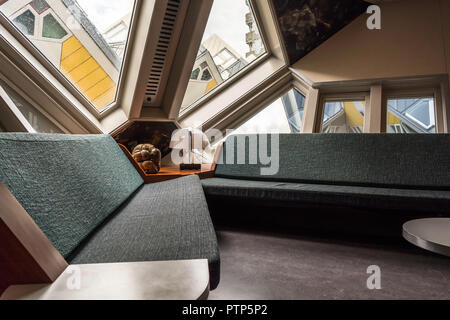 Rotterdam, Netherlands - May 22, 2018: Living room in The Kijk-Kubus (Show-Cube) - a furnished museum house, designed and constructed for the visitors - Stock Photo