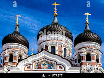 Alexander Nevsky Cathedral Tallinn's largest and grandest orthodox cupola cathedral in Tallinn Old Town Estonia - Stock Photo