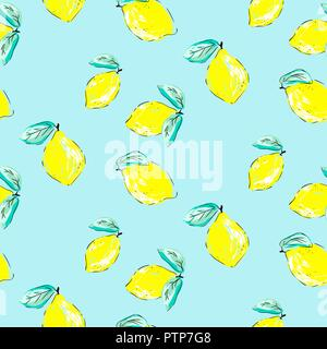 Lemons Hand Drawn Seamless Pattern Yellow Citrus Colored