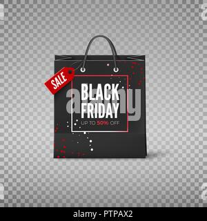 Black Friday concept. Black paper bag with tag Sale and discount offer. Black friday banner template. Vector illustration isolated on transparent back - Stock Photo