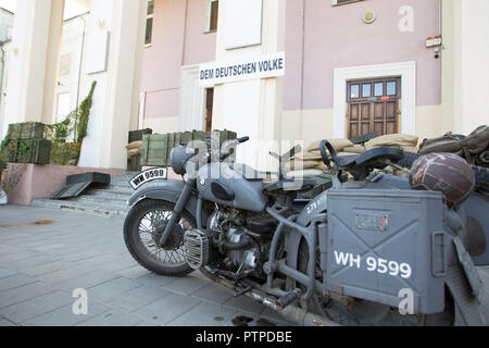 Belarus, Gomel. May 9, 2018. Victory Day. Reconstruction take Reichstag.German BMW motorcycle from World War II - Stock Photo