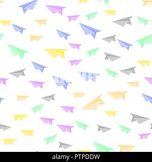 Colorful Paper Plane Seamless Pattern - Stock Photo