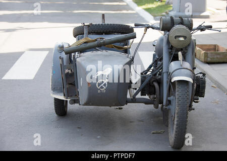 Belarus, Gomel. May 9, 2018. Victory Day. Historical reconstruction in 1945, capture of the Reichstag. BMW motorcycle of the second world war - Stock Photo