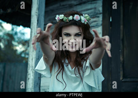 portrait of a young woman from nightmares , Halloween concept. - Stock Photo