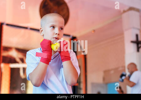 Boxing training in the gym, the concept of sports development. - Stock Photo