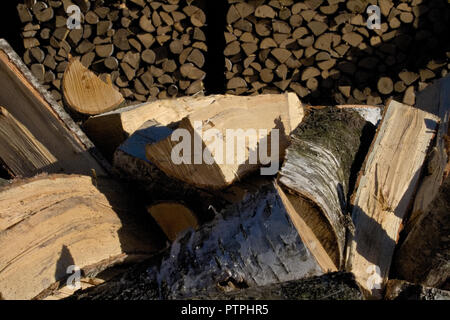Pile and wall of cut birch wood and stacked wood logs ready for winter, standing on the grass - Stock Photo