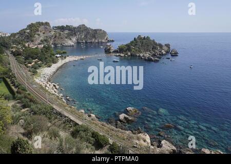 Isola Bella, beautiful tiny island and one of the landmarks of Taormina, Sicily, Italy