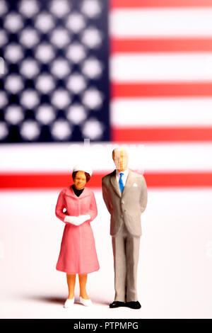 miniature figurines of USA President and first lady - Stock Photo