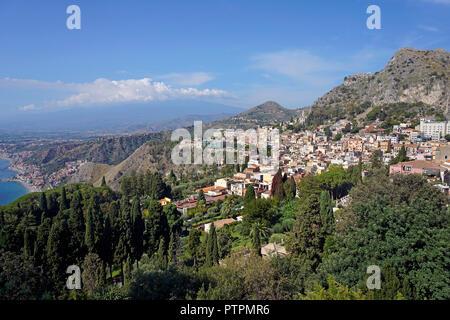Splendid view from the ancient greek-roman theatre to Taormina, Sicily, Italy - Stock Photo
