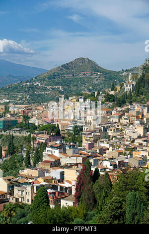 Splendid view from the ancient greek-roman theatre to Taormina, Sicily, Italy - Stock Photo