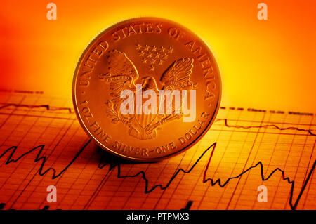 American silver dollar coin and financial graph indicator - Stock Photo