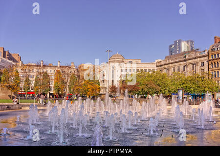 Fountains in Piccadilly Gardens, Manchester City Centre, Greater Manchester, England. UK. - Stock Photo