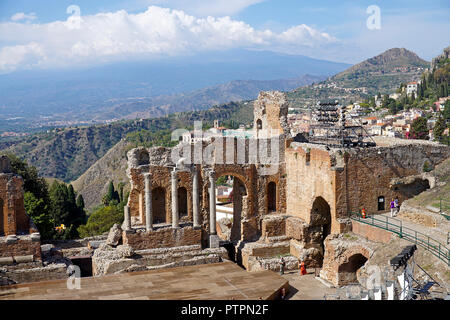 The ancient greek-roman theatre of Taormina, Sicily, Italy - Stock Photo