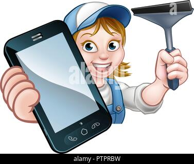 Window or Car Cleaner Phone Concept - Stock Photo