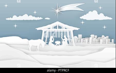 Nativity Christmas Paper Scene - Stock Photo