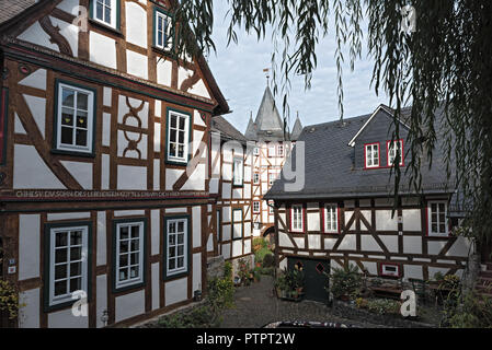 historic half-timbered houses in the old town of braunfels, hesse, germany. - Stock Photo