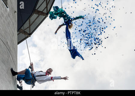 Areal dancers performing on the National Maritime Museum in Falmouth, Cornwall. June 2017 - Stock Photo
