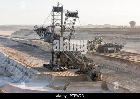 Impression of the Tagebau Hambach, a large open-pit coal mine in Niederzier and Elsdorf (North-Rhine Westphalia), operated by RWE and used for mining  - Stock Photo