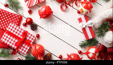 Border from Christmas presents and decorations - Stock Photo