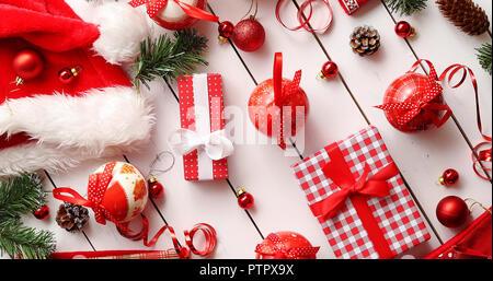 Christmas decorations near presents - Stock Photo