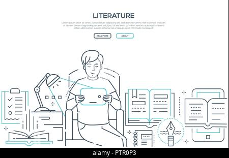 Literature - modern line design style web banner on white background with copy space for text. Composition with boy reading e-book at home, images of  - Stock Photo