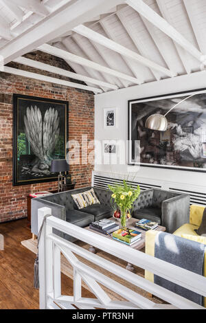 Open plan living room with artwork by Pete Codling - Stock Photo