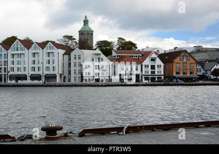 Skagenkaien, the walkway near the city harbour. Stavanger. Rogaland county. Norway - Stock Photo