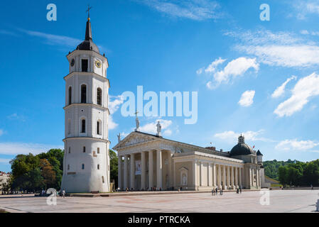 Vilnius Cathedral Square, view in summer of Vilnius Cathedral and the Belfry bell tower in the city's main square, Lithuania. - Stock Photo