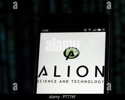 Kiev, Ukraine. 10th Oct, 2018. Alion science & technology corp logo seen displayed on smart phone. Defense industry company Credit: Igor Golovniov/SOPA Images/ZUMA Wire/Alamy Live News - Stock Photo