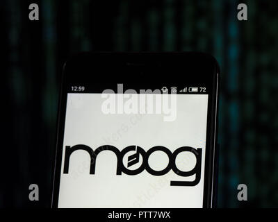 Kiev, Ukraine. 10th Oct, 2018. Moog Music Musical instrument manufacturing company logo seen displayed on smart phone. Credit: Igor Golovniov/SOPA Images/ZUMA Wire/Alamy Live News - Stock Photo