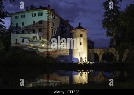 Sneznik, Inner Carniola, Slovenia. 11th Mar, 2018. The Sneznik castle seen with the art being projected on it during the festival.The Snežnik/floating castle festival, during the festival cultural and natural pearl, comes to life in a completely new dimension and connects foreign artists and locals in a unique way, The castle and its surroundings feature a wide variety of music and concert experiences performed by both, established international artists and local enthusiasts. The great attraction of the festival is Ethno Histeria World Orchestra, an international music group of 80 member - Stock Photo
