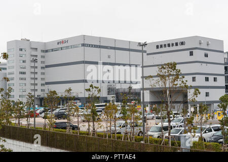 A general view of the new Tokyo Metropolitan Central Wholesale Market which opened in Toyosu on October 11, 2018, Tokyo, Japan. The new fish market replaces the famous Tsukiji Fish Market which closed for the last time on Saturday 6th October. The move to Toyosu was delayed for almost 2 years because of fears over toxins found in water below the new market. Credit: Rodrigo Reyes Marin/AFLO/Alamy Live News - Stock Photo