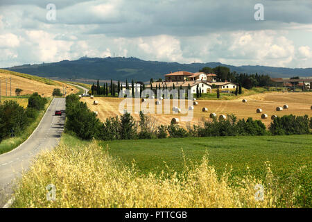 Radicofani, Italien. 29th June, 2018. 29.06.2018, Italy, Radicofani: View of a 'typical' landscape in Tuscany. Location is the street SP88 near Montepulciano Credit: Daniel Gammert/dpa-Zentralbild/ZB | usage worldwide/dpa/Alamy Live News - Stock Photo