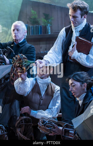 London, UK. 10th Oct 2018. The Wider Earth, a play about the story of young Charles Darwin in the new theatre in the Jerwood Gallery at the Natural History Museum. It features a cast of seven, specially designed puppetry, an original score and cinematic animations. Credit: Guy Bell/Alamy Live News - Stock Photo