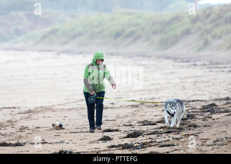 Freshwater East, Pembrokeshire, Wales, 11h October 2018. UK Weather: Wet stormy weather begins to make for heavy seas with Storm Callum making for a stormy weekend ahead.  Pembrokeshire, Wales. A lone dog walker with her her husky braving the wet and windy weather on the shoreline at Freshwater East, Pembrokeshire ©DGDImages/AlamyNews - Stock Photo