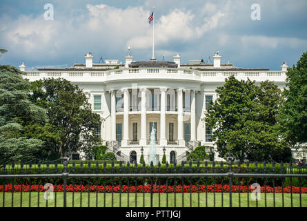 Scenic summer view of the South Lawn with the iconic portico of the White House in Washington DC, USA - Stock Photo