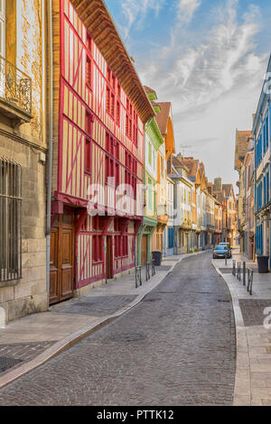Colorful half-timbered houses on a street in the old town of Troyes, Aube, France Stock Photo