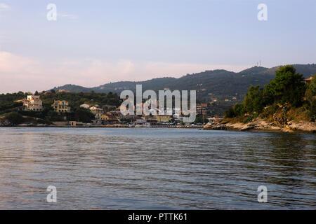 Leaving Kassiopi harbour, Corfu, Greece - Stock Photo