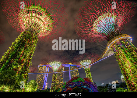 The Supertree Grove light show at Gardens by the Bay nature park, Singapore - Stock Photo