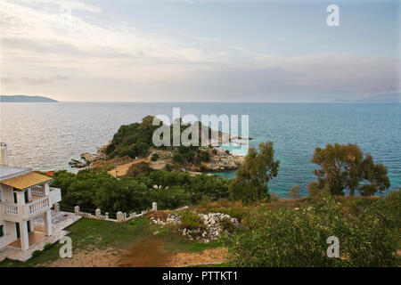 Bataria Beach and Peninsula from the Castle, Kassiopi, Corfu, Greece - Stock Photo