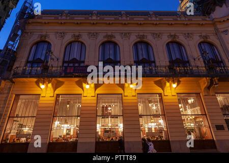 Kavárna Obecní dům Cafe from the street,   Municipal House, Obecní dům, Prague, Czech Republic. - Stock Photo