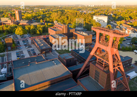 World Heritage Zollverein Coal Mine in Essen, Doppelbock Scaffold from Schacht 12, in the background the Red Dot Design Museum, - Stock Photo