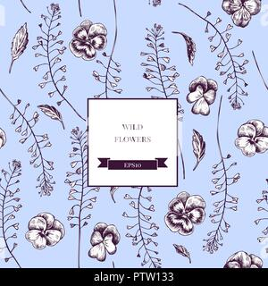 Vector seamless pattern of wild flowers. Hand drawn vector illustration - Stock Photo