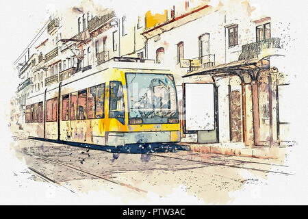 Sketch with watercolor or illustration of a traditional tram moving down the street in Lisbon in Portugal. - Stock Photo
