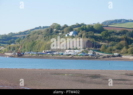 Boatyard on the River Teign Estuary - Stock Photo