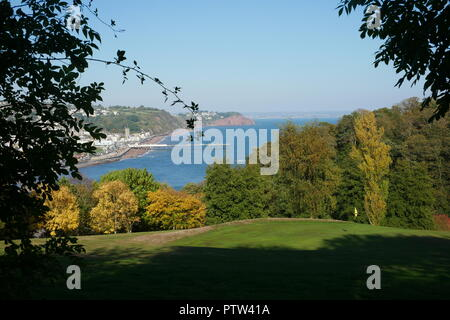 Teignmouth Pier from Shaldon Approaches - Stock Photo